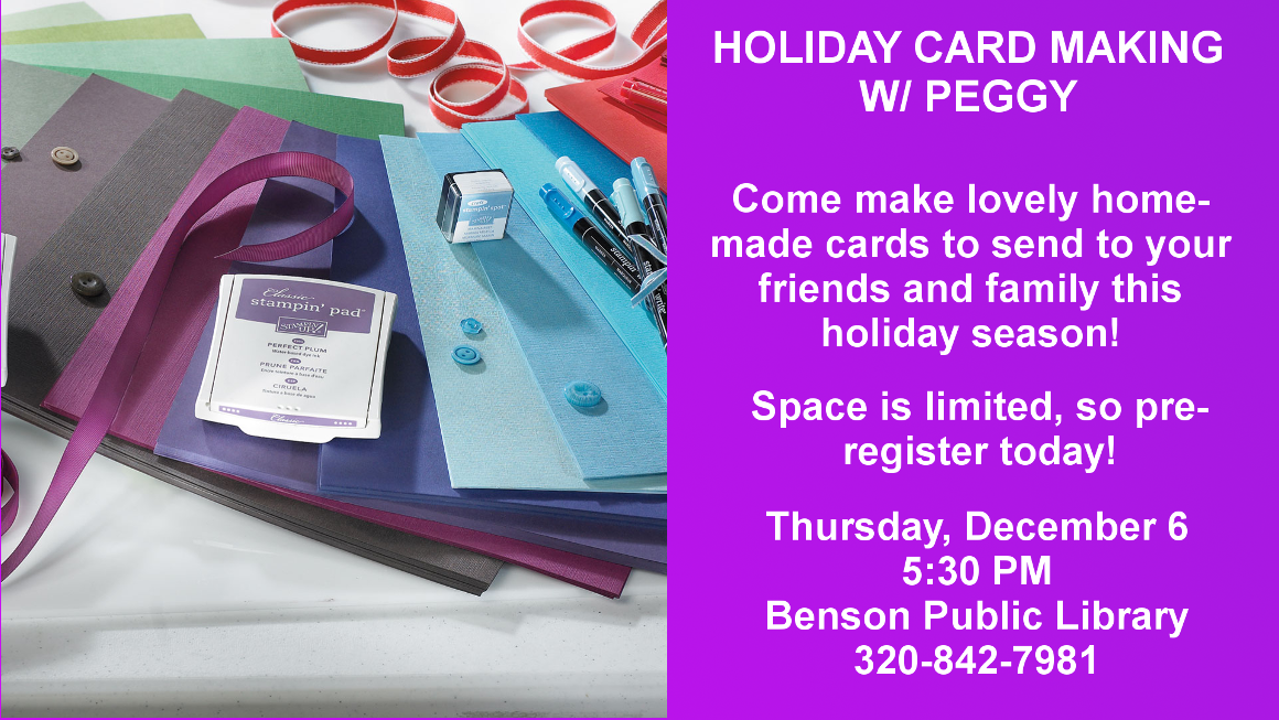 Come Make Home-made Holiday Cards. Thursday, December 6 at 5:30 pm. It's free and all materials will be provided. Please pre-register.