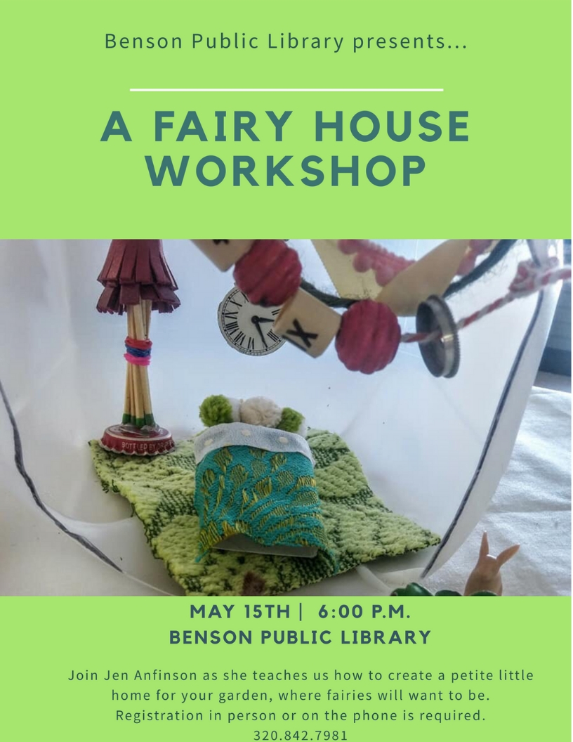 We're thrilled to be having a Fairy House Workshop on Wednesday, May 15th. This is an all ages event although children under the age of 13 must be accompanied by an adult. Pre-registration is required.