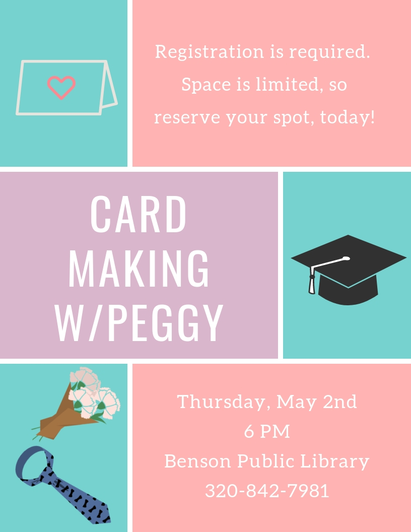 Come create hand-made graduation, Mother's Day, and Father's Day cards with Peggy. Class size is limited, and pre-registration is required.