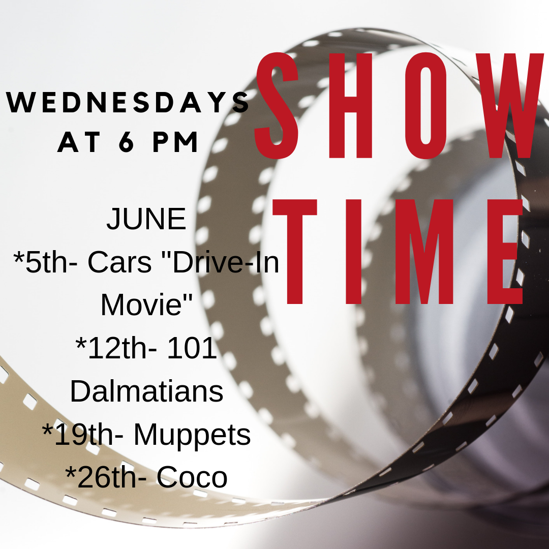 We have family movie nights every Wednesday in June, beginning June 5th. June 5th is a special drive in with Cars (G), June 12 is 101 Dalmatians (G), June 19th is Muppets (PG), and June 26 is Coco (PG.) (