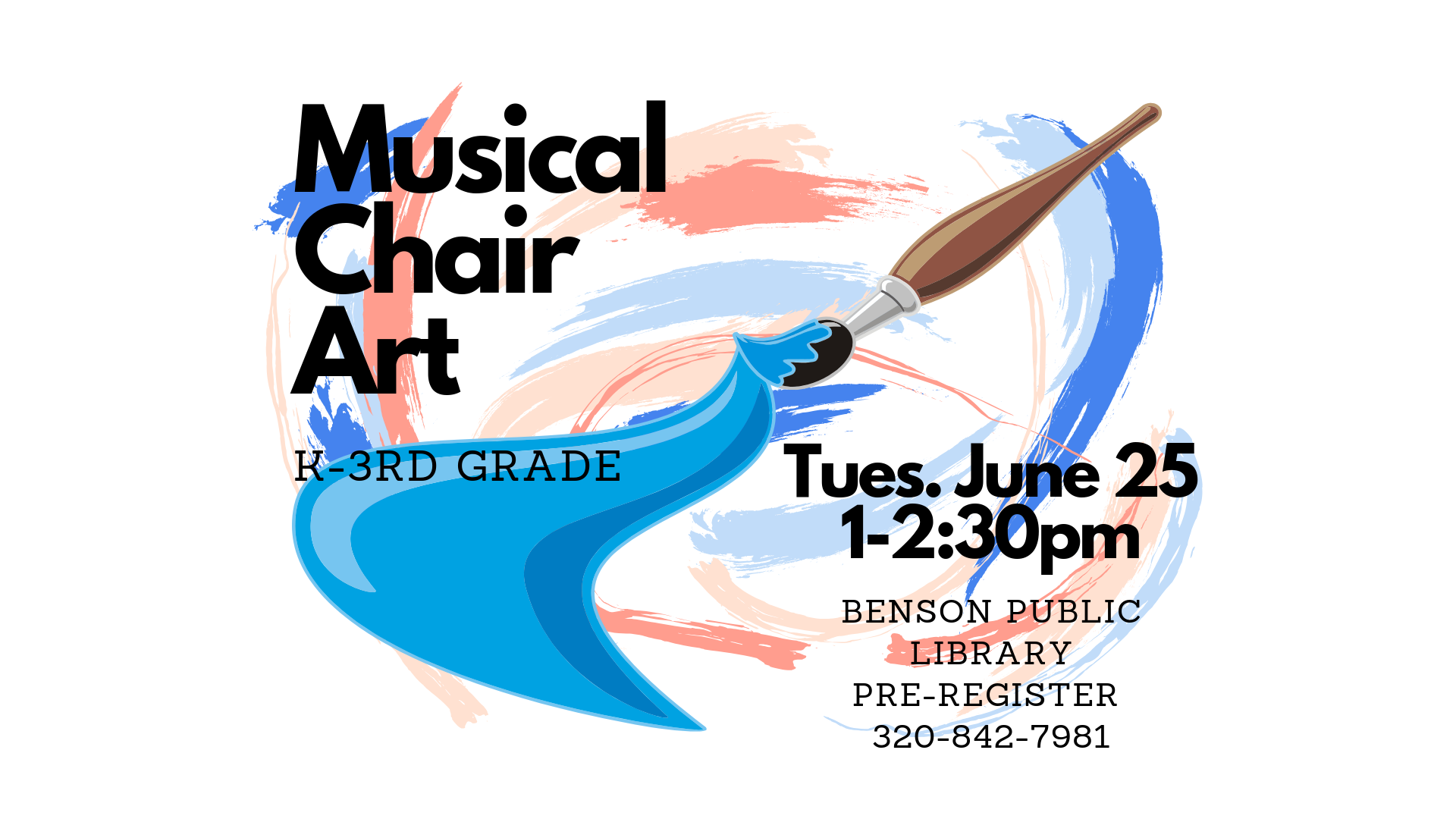 Kids going into Kindergarten through 3rd grade are welcome to join us on Tuesday, June 25 from 1-2:30 for Musical Chair Art, where they will create wonderful pieces of art while playing musical chairs. We do ask that kids pre-register just so we have enough supplies.