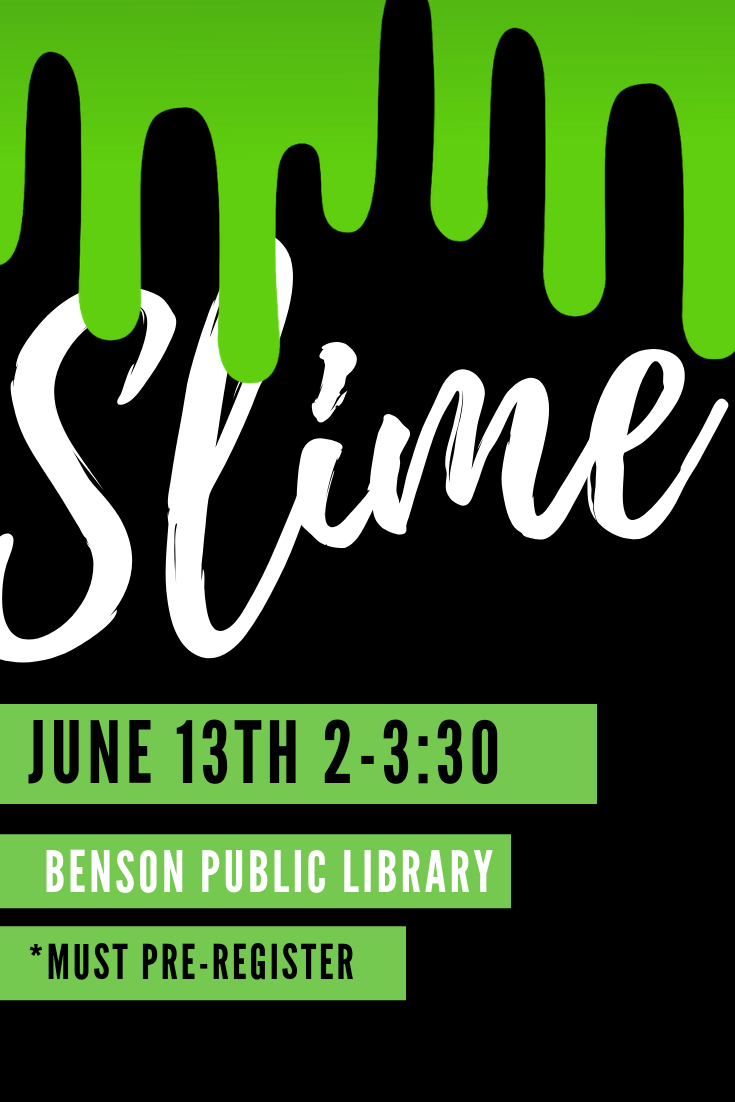 For kids going into 3rd grade and up, we have Slime on Thursday, June 15th from 2-3:30 pm. We do ask that kids pre-register so that we have enough supplies.