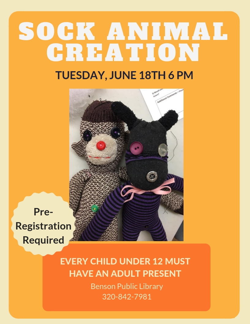 Sock Animal Creation Tuesday, June 18th at 6 pm. Create a unique sock puppet out of socks. Free all materials provided. Every child under 12 must be with an adult. Pre-registration is required.