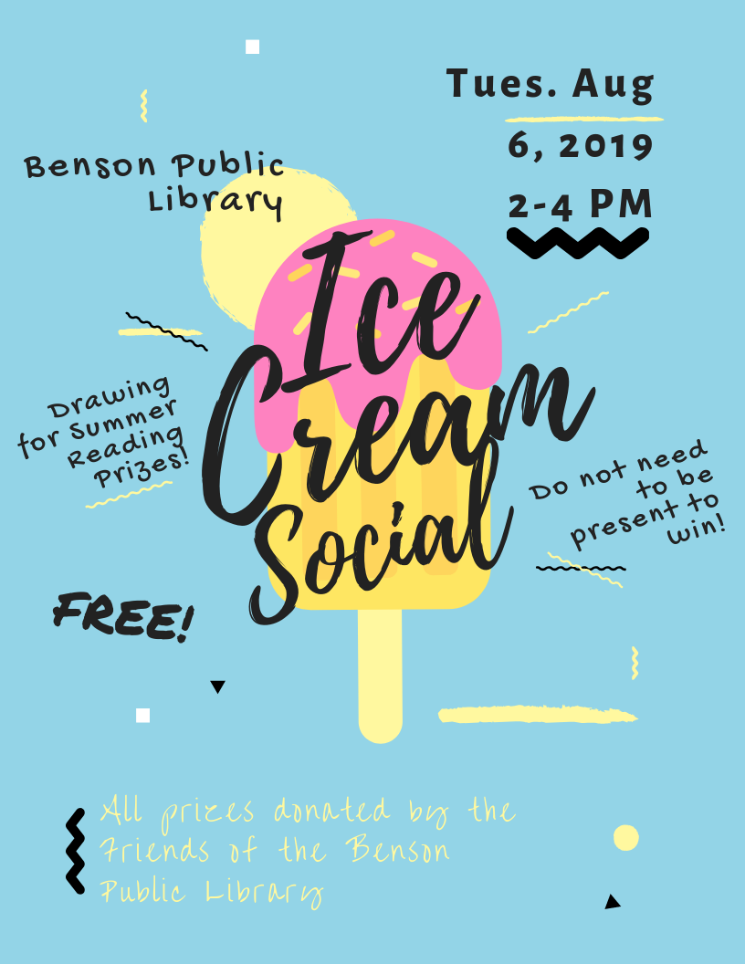 Join us for the Ice Cream Social on Tuesday, August 6th at 2 pm! Have ice cream, and we'll draw for the prizes for our summer reading program. You need not be present to win, but we will have special door prizes for those who are. We hop to see you there!