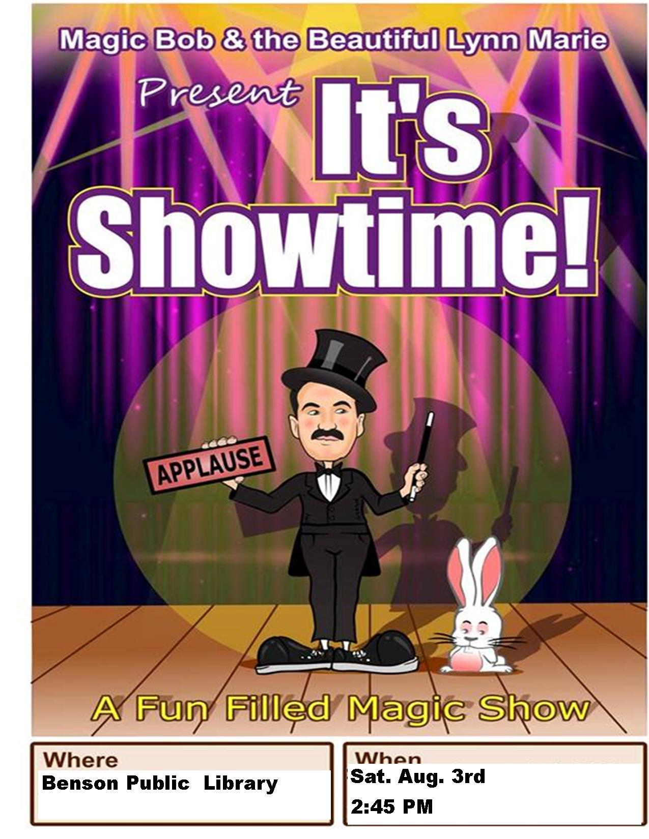 Join us for a magic show to end our Summer Reading Program. Come see Magic Bob perform awesome feats! Saturday, August 3 at 2:45 pm!