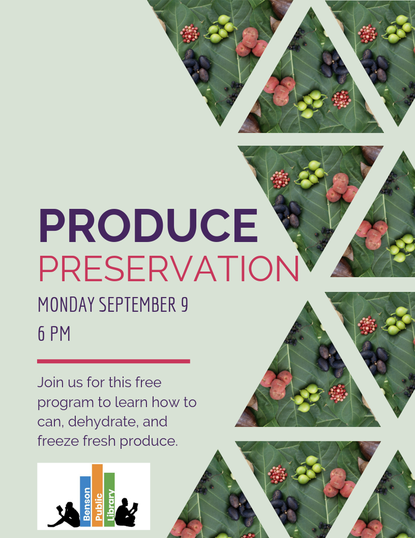 Join us for a Produce Preservation class on Monday, September 9 to learn how to can, freeze, and preserve fresh produce. This FREE introductory course is perfect for beginners and experienced canners alike.