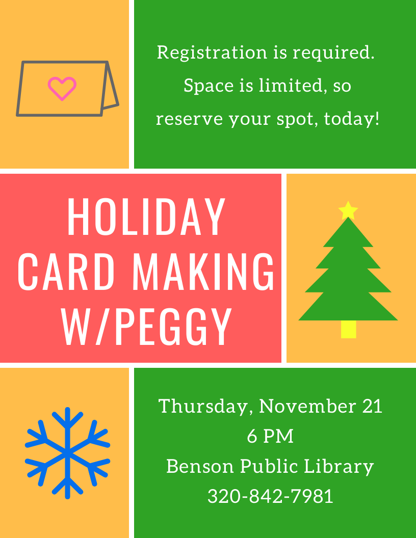 Join us for a Holiday Card Making Class with Peggy on Thursday, November 21 at 6 pm. Class size is limited, so pre-registration is required.