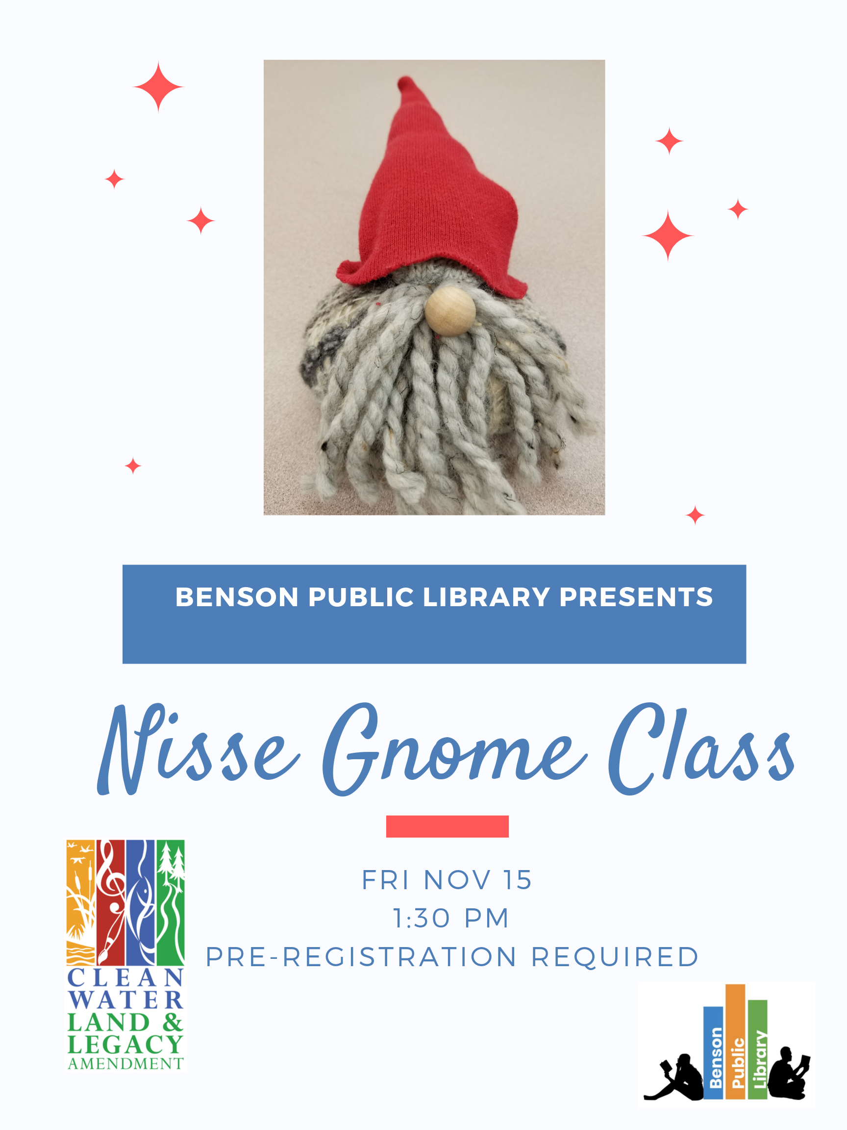 We will be offering a class to make the traditional Scandinavian Nisse Gnome on Friday, November 15 at 1:30 pm. Pre-registration is required.