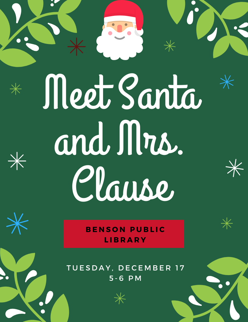 Santa and Mrs. Clause will be visiting the library on Tuesday, December 17th from 5-6 pm.
