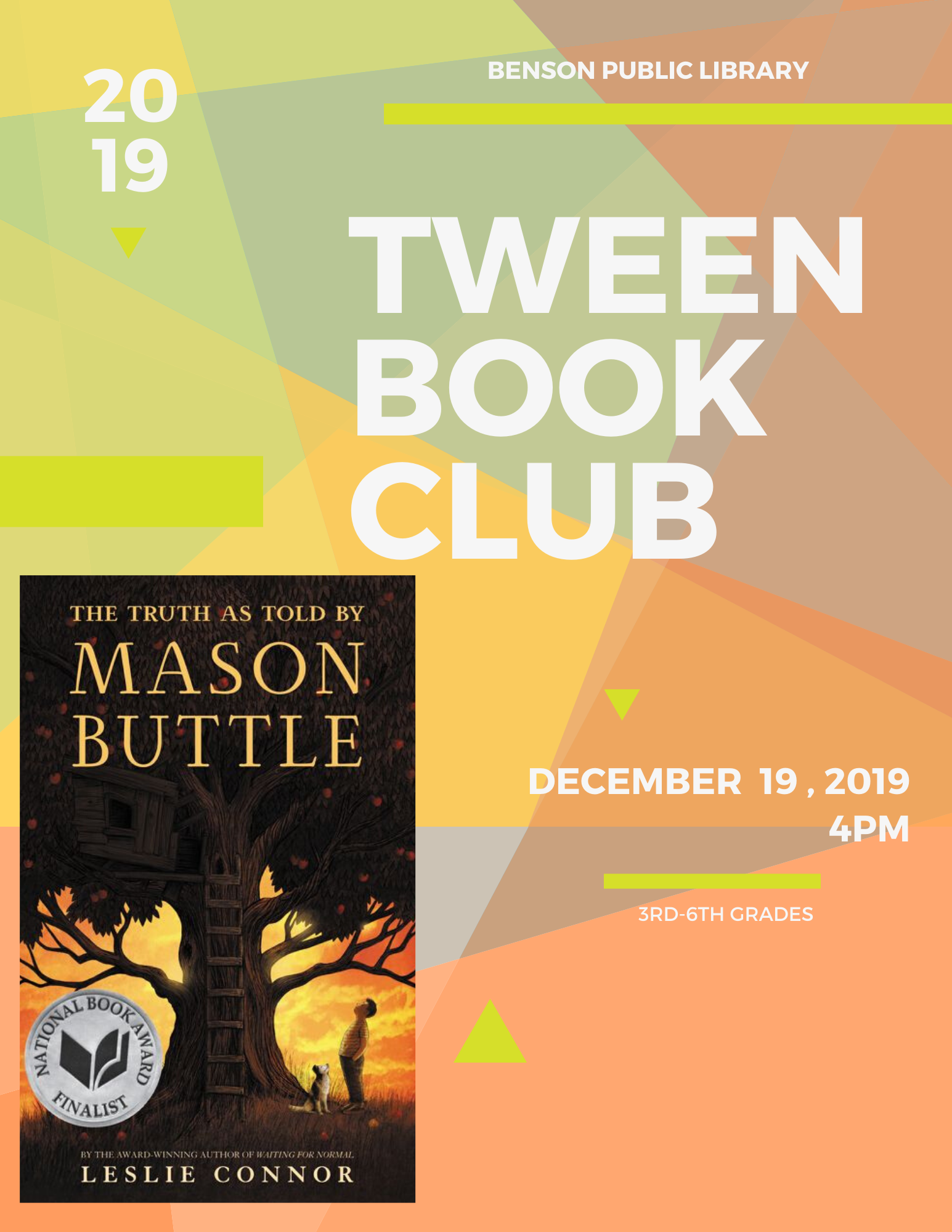Our tween book club will meet on Thursday, December 19 at 4 pm. Copies will be available to pick up that day.