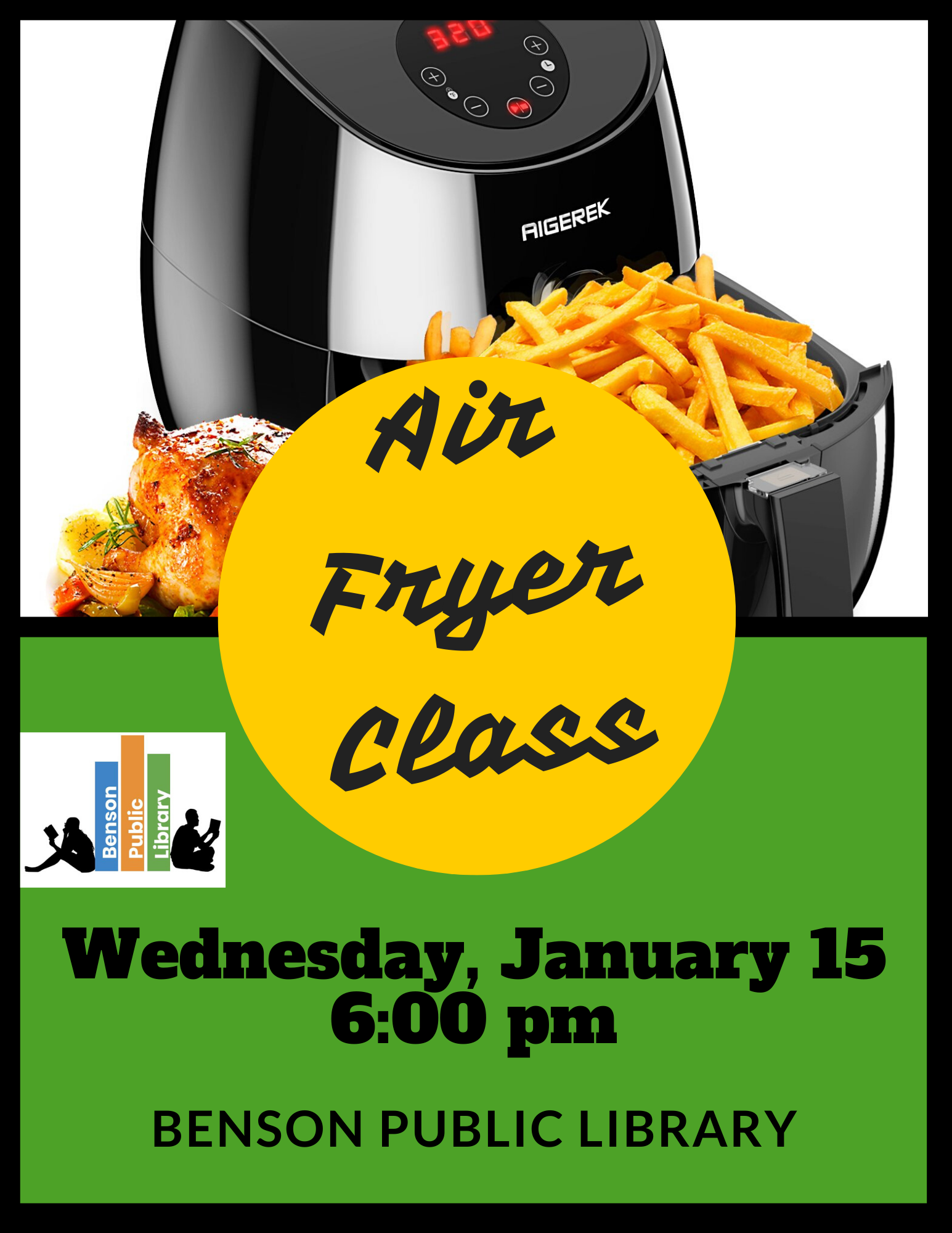We will be offering a Air Fryer class on Wednesday, January 15 at 6 pm. Learn techniques and tricks of an air fryer. We are asking for registration.