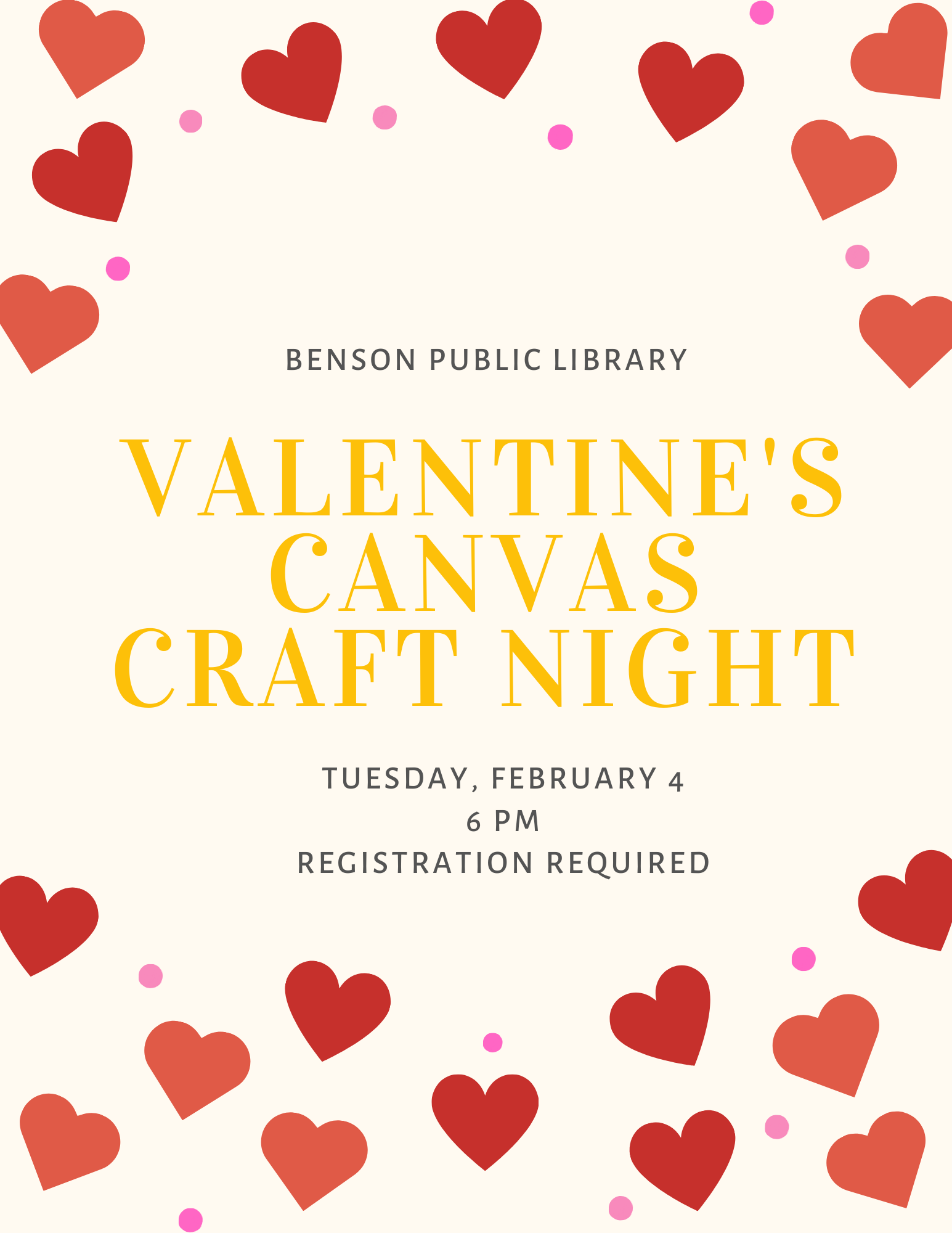 Let your creative juices flow this Valentine's Day! We will be offering a multi-media Valentine's Craft Night on Tuesday, February 4 at 6 pm. Registration required.