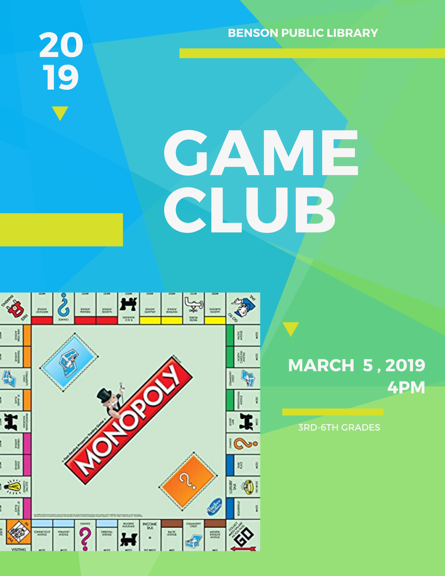 Calling all kids in 3rd Grade and up. On Thursday, March 5th at 4 pm, we will have several different versions of Clue to play.