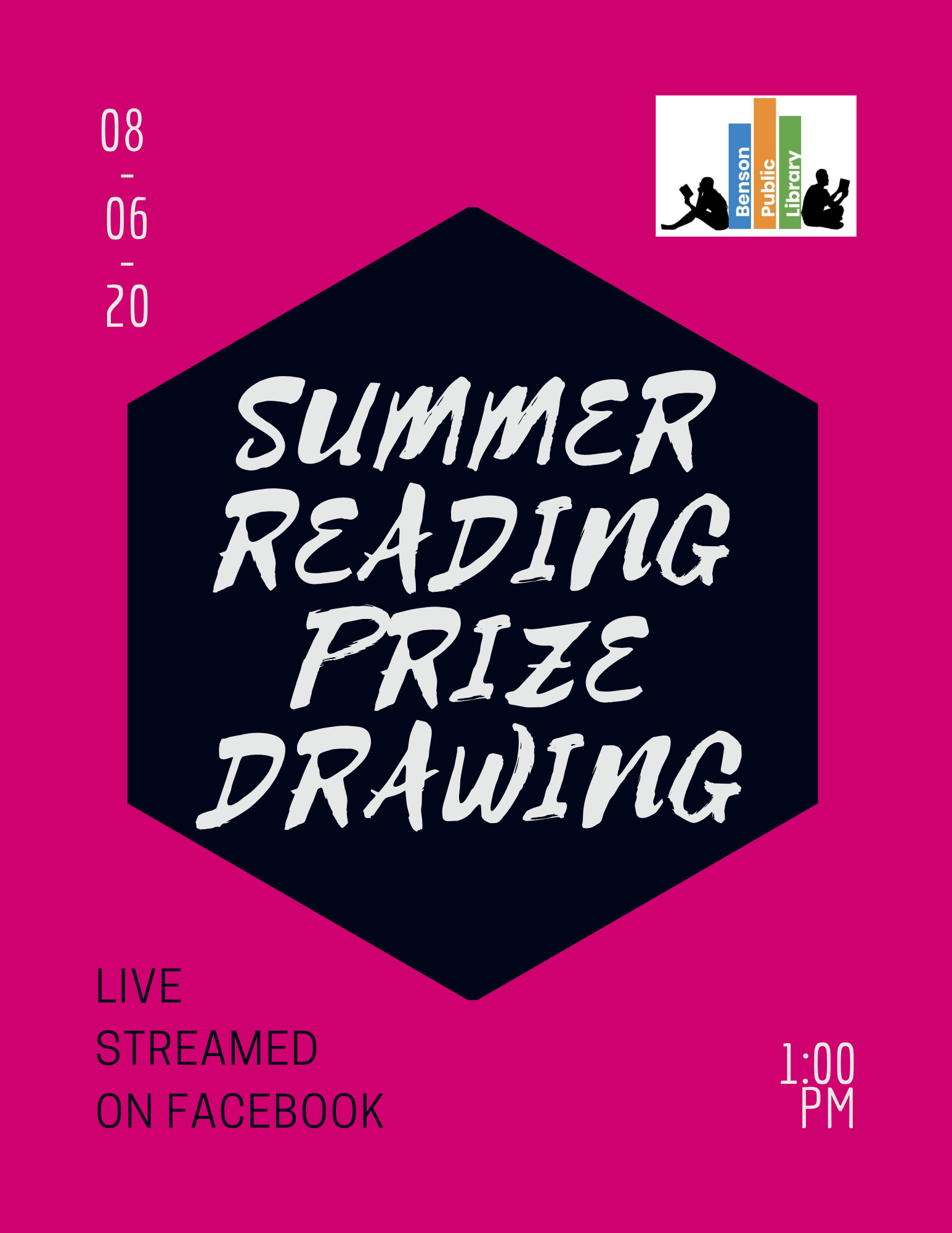 We will be having the Summer Reading Prize Drawing on Thursday, August 6th at 1 pm Live on Facebook! We hope to that you can join us!