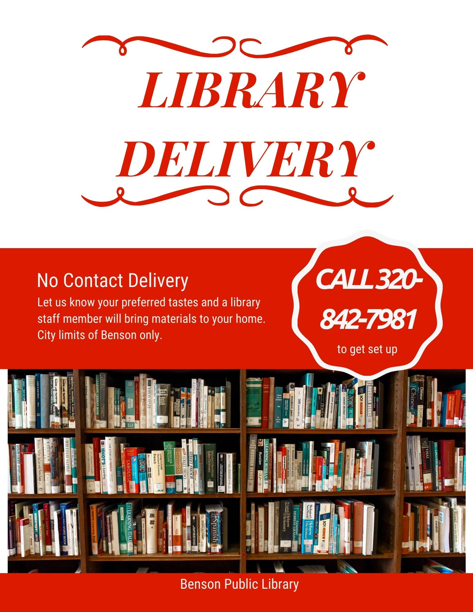 Now offering Homebound Library Services. Call 320-842-7981 to arrange.